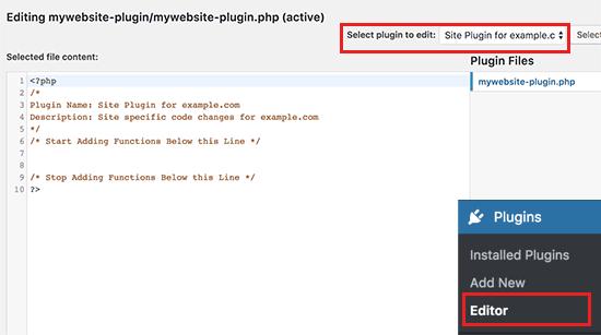 اضافه کردن کد سفارشی در پلاگین وردپرس خاص سایت