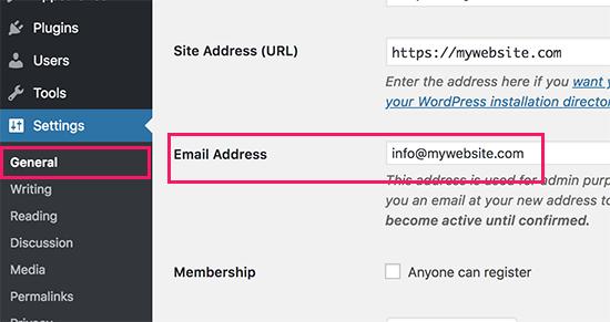 روش 1. تغییر آدرس ایمیل مدیریت وردپرس از طریق قسمت مدیریت
